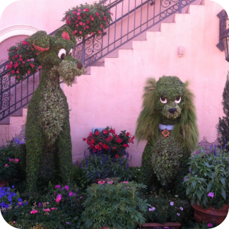 Tramp and Lady topiary