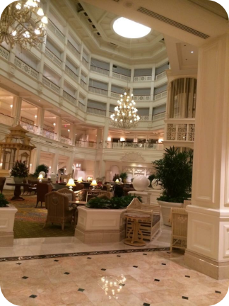The Grand Floridian lobby. All of the hotels are stunning and absolutely worth a visit to see in person!