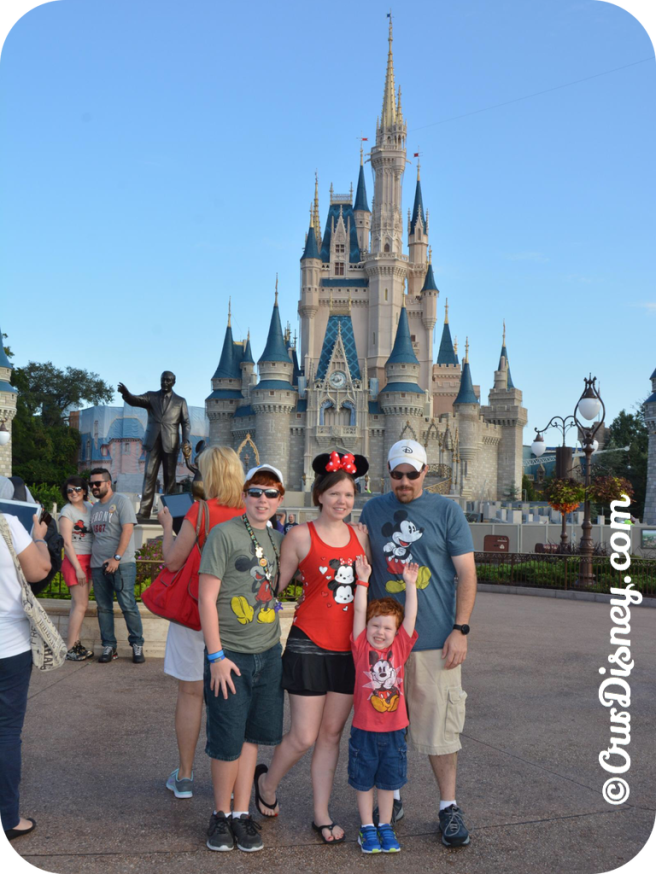 family picture in front of the castle