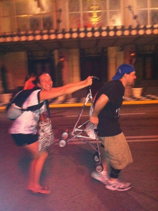 Katie's Michael and I acting dumb on Streets of America